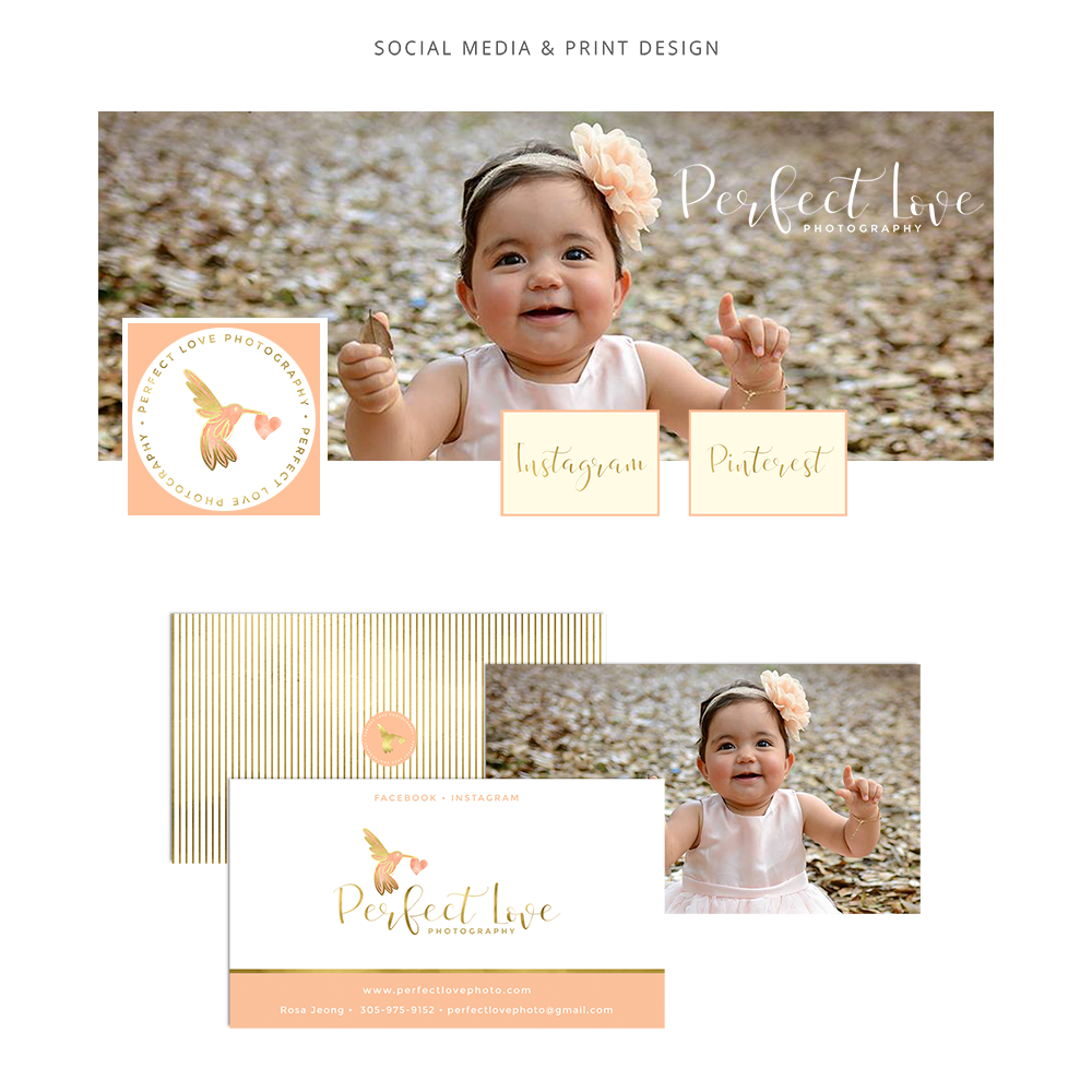 Social media branding for Perfect Love Photography, children and family photographer including logo, submark, brand elements, beautiful script and sans serif fonts, warm feminine color palette of coral, peach, cream and gold, watercolor pattern and gold stripes. Branding for female entrepreneurs, business owners and bloggers. Click for mood board and brand style guide.
