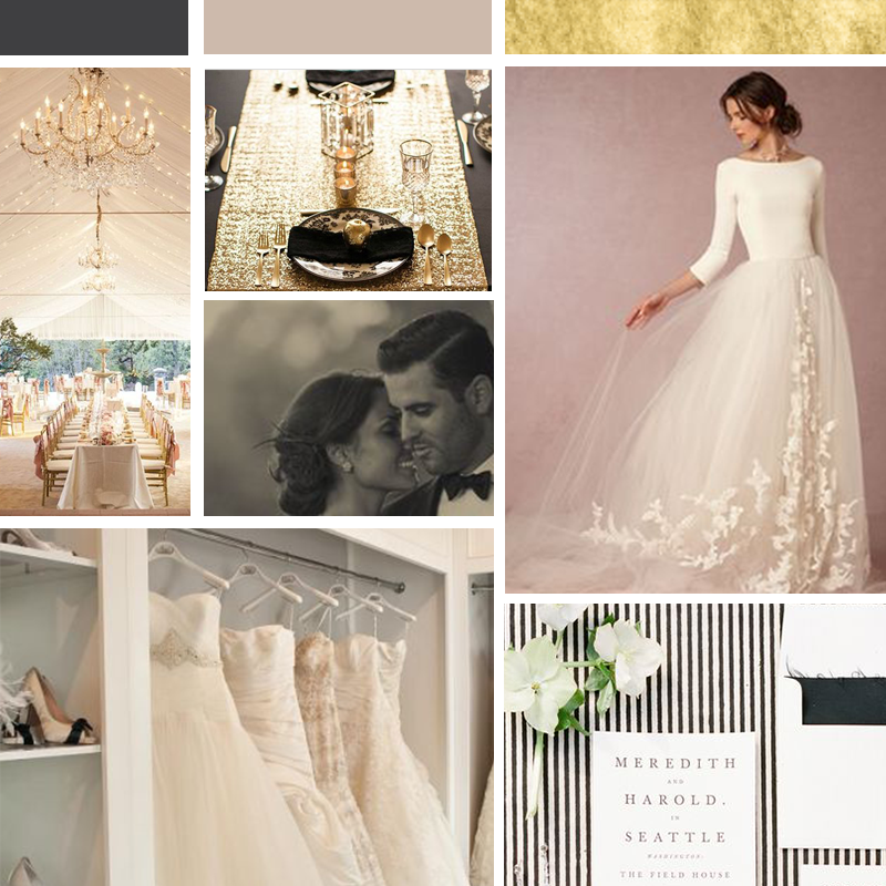 Mood Board for Amelia Bridal | Click through to see the accompanying brand style guide in my portfolio! Wonderland Graphic Design - Styling your way to a better business! Inspiration for the branding of wedding professional female entrepreneur bridal business. Black, latte, cream and gold color palette make this bridal boutique branding elegant, chic and glamorous with classic beautiful font and high-end luxury branding. Brand design, brand board, branded social media facebook design and printed biz materials.