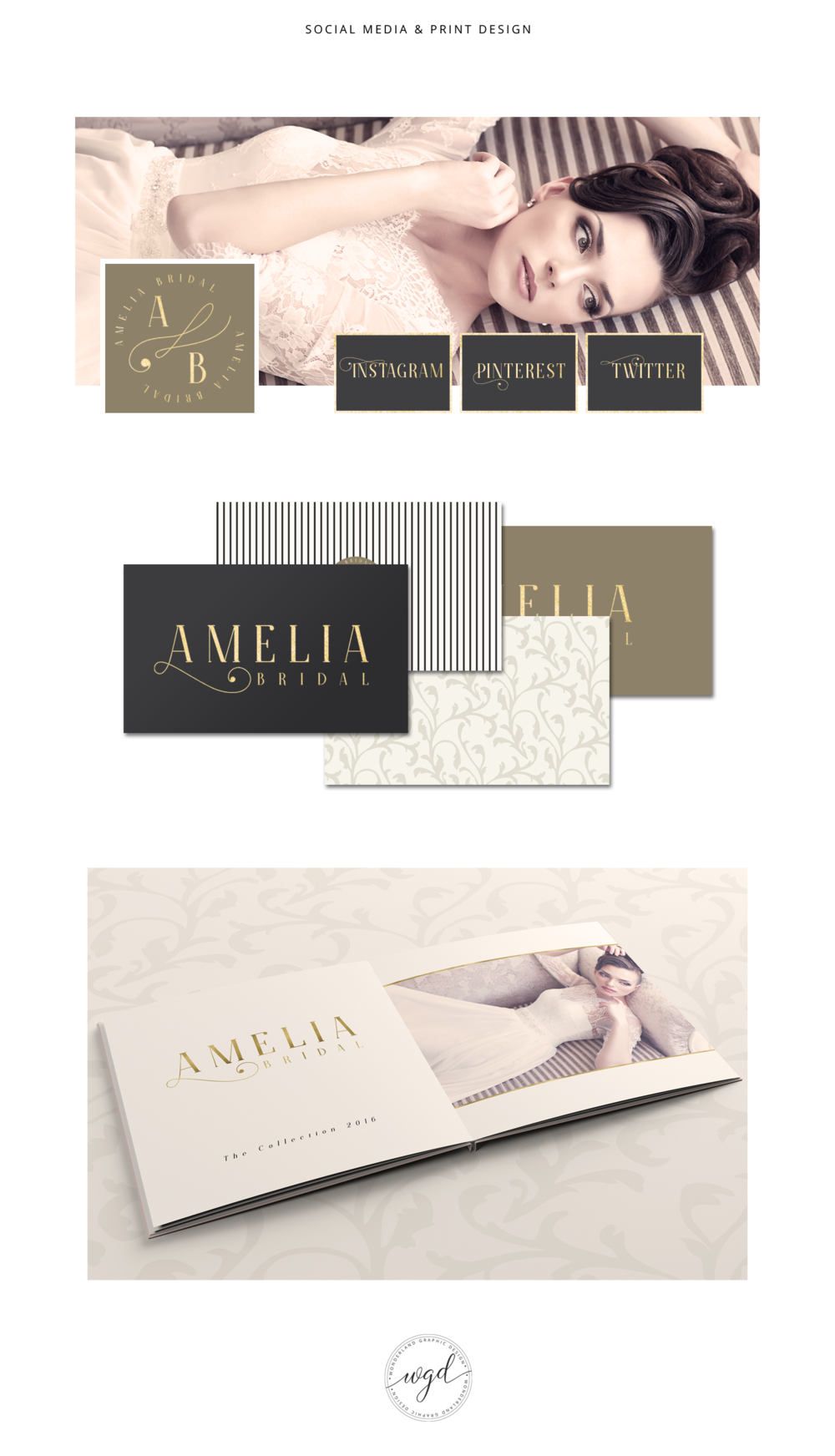 Social Media and Print Design for Amelia Bridal | If you require branding services for your wedding business, click through to find out more. Wonderland Graphic Design - Styling your way to a better business!