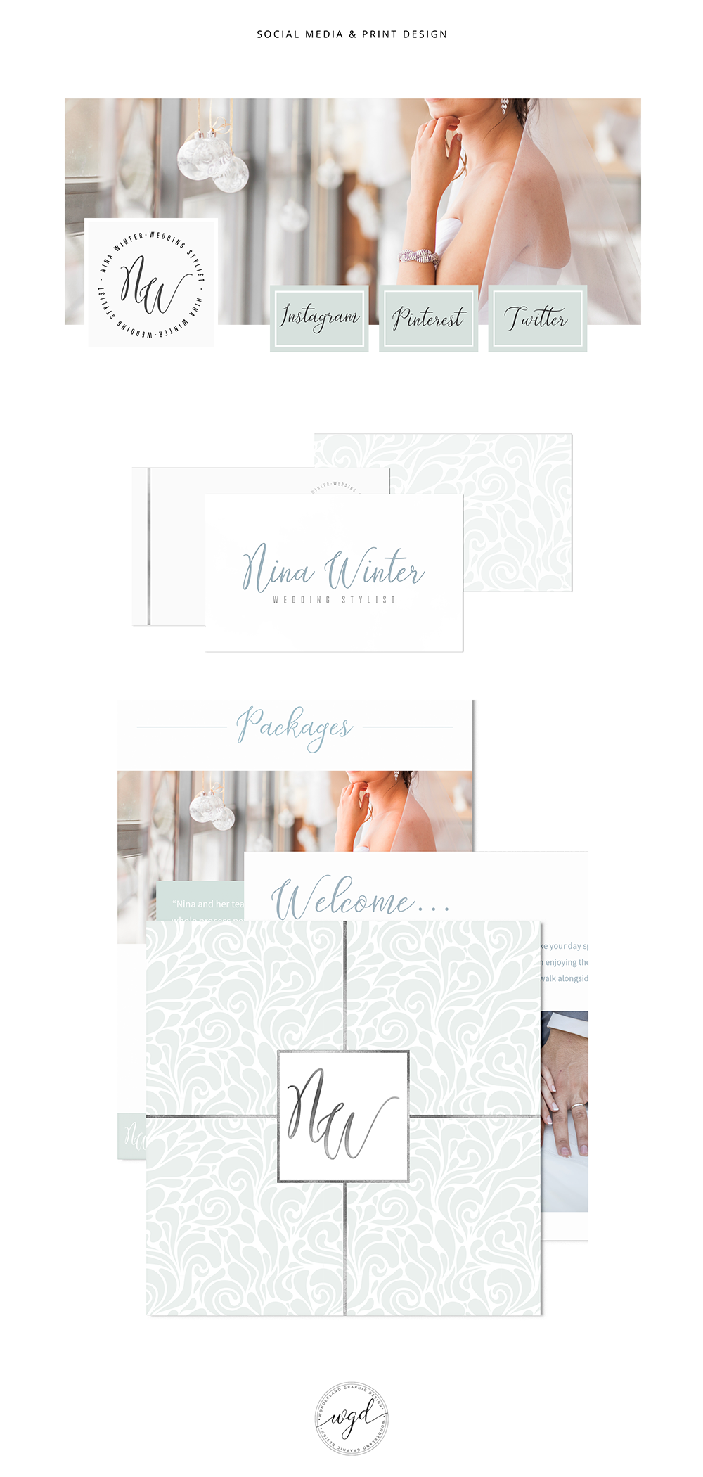 Nina Winter Wedding Stylist - Brand Design and Styling by Wonderland Graphic Design