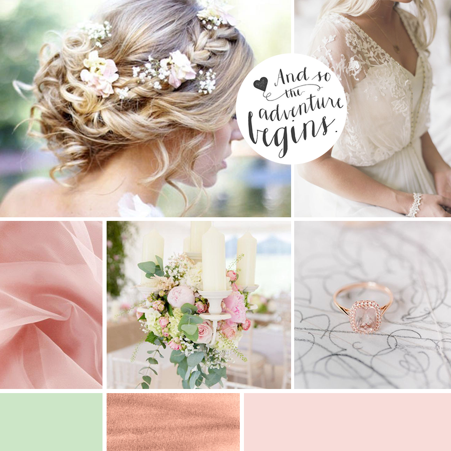 Mood board for bridal business and wedding blog The Freespirit Bride. For boho brides, this branding for wedding professional and wedding business of a female entrepreneur is romantic and feminine with lace and tulle, beautiful calligraphy script font, sage green, pink and rose gold color palette. An inspiration board of feminine colors and textures. Engagement ring and floral crown. Wild flowers for this brand design and branded social media facebook design, printed business materials and full brand board and brand style guide from Wonderland Graphic Design.