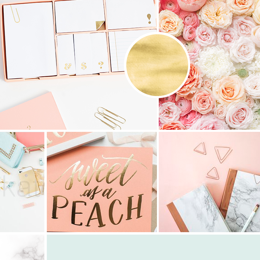 Mood board for the branding of creative lifestyle, home decor and craft blog. Modern floral design using coral, mint, peach and gold color palette. Beautiful script font. Marble pattern and ombre flowers. Brand inspiration and brand design for this creative business and female entrepreneur, branded social media design and blog design. Full brand board and brand style guide in the Wonderland Graphic Design portfolio.