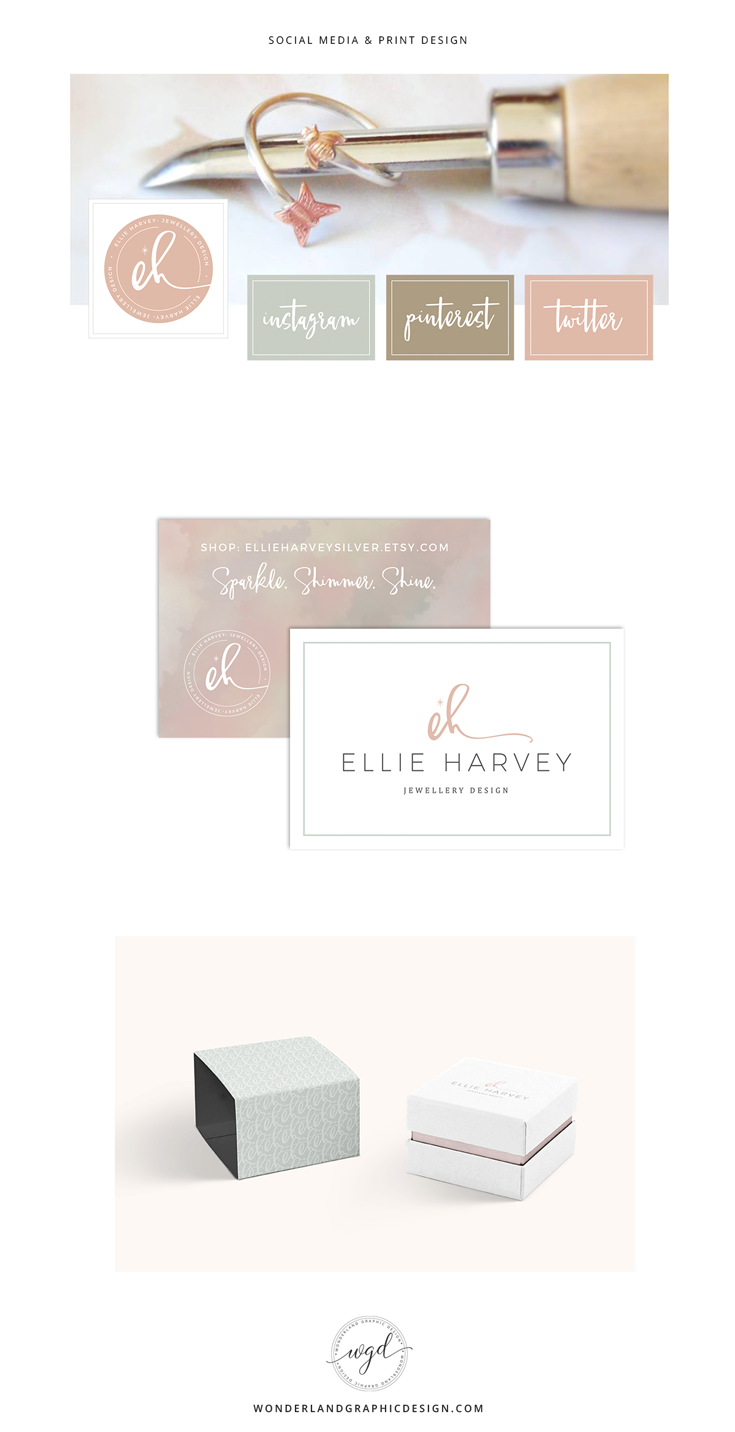 Social media branding for Ellie Harvey jewellery design business. From mood board, brand styling and final brand board we have branded facebook elements, business card design, and packaging examples for this female entrepreneur. Using the muted tones in the soft color palette, script font, logo, submark and patterns, this feminine, modern, clean branding comes to life.