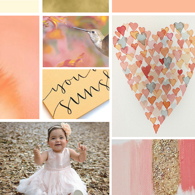 Mood board for Perfect Love Photography rebrand, inspiration board for branding of this family and children photographer, color palette, coral, gold, cream and peach, script font & typography. Wonderland Graphic Design, brand design for female entrepreneurs, business owners and bloggers.