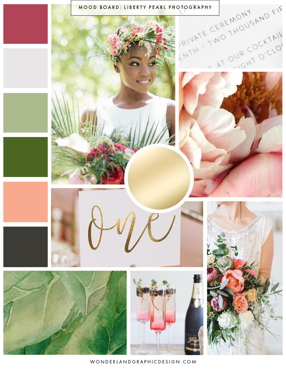 Mood Board for Liberty Pearl Photography. Inspiration board for the branding of wedding photography online business, bright exotic luxury colors, script and serif fonts and typography, feminine, pretty brand design, social media branding and printed materials and packaging. Branding for female entrepreneurs and small business owners from Wonderland Graphic Design.