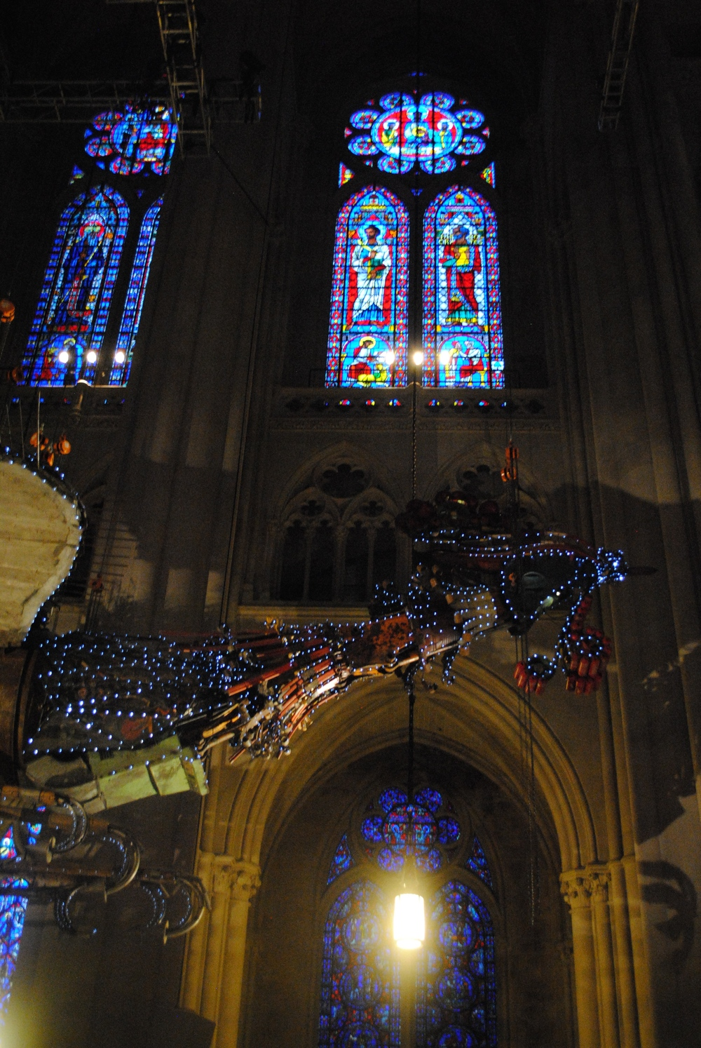 Phoenix and Stained Glass  ,    in Saint John's Cathedral NYC, October 26th 2014 (Phoenix by Xu Bing, photograph by Hazel Renee)