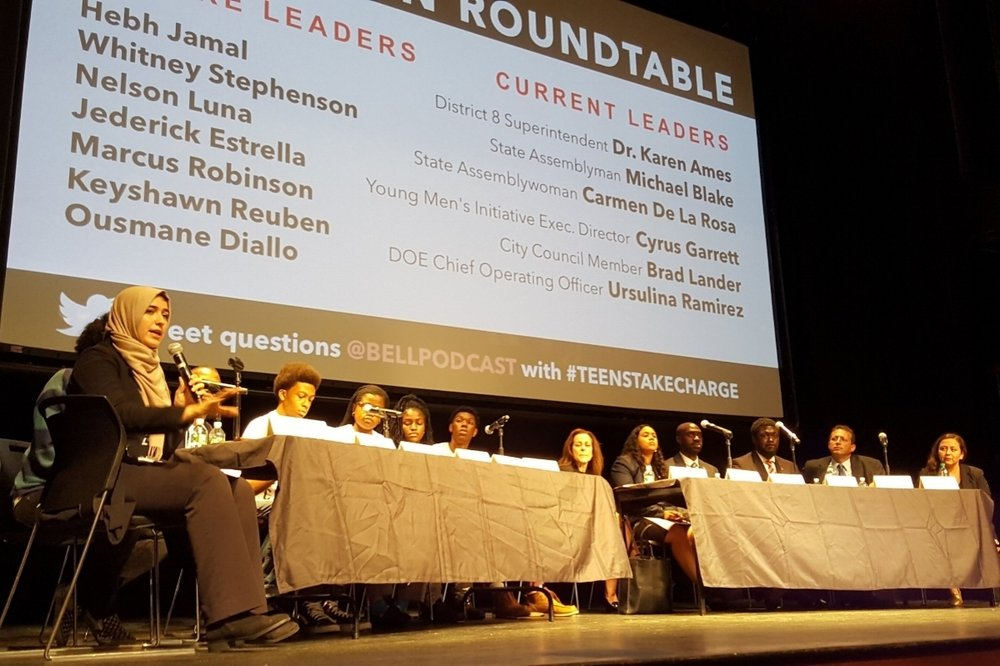 Teen activist Hebh Jamal hosts an education panel between Teens Take Charge members and education policymakers September 19, 2017 at the Schomburg Center in Harlem.