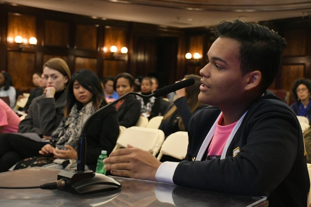 Teens Take Charge co-founder Nelson Luna testifies to the New York City Council during a hearing on school integration December 7, 2017.
