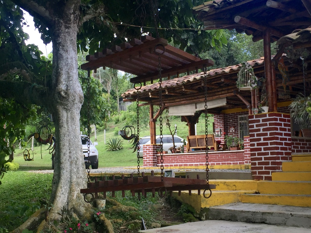 View of the front of the home from the dining area where we enjoyed our afternoon fiesta.