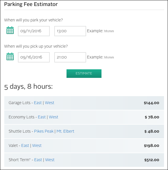 Estimated cost to use parking options at Denver International Airport