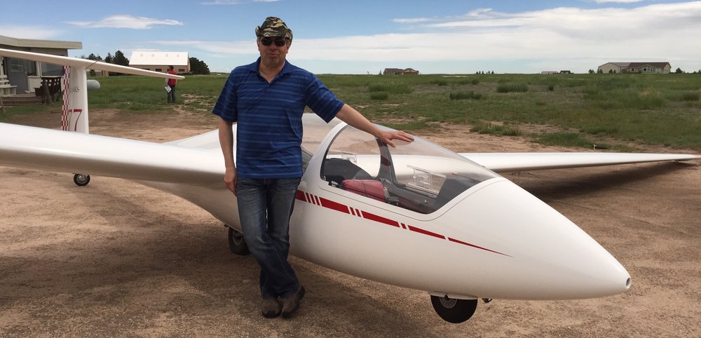 Jim prior to first flight in ASK-21 Glider (Photo: Jackie Berna, 2015)