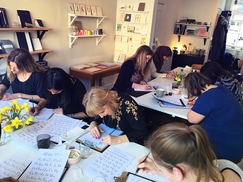 Some of my students hard at work in the Quill London shop