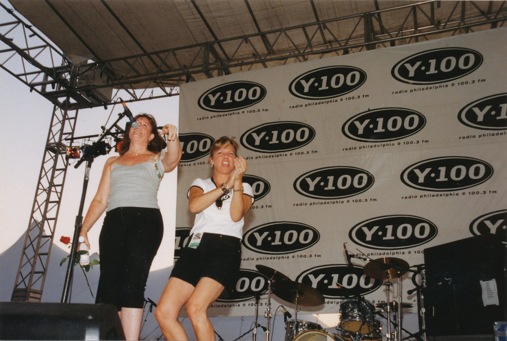 While with WPLY/Y100: Onstage with Marilyn Russell at the Y100 Feztival