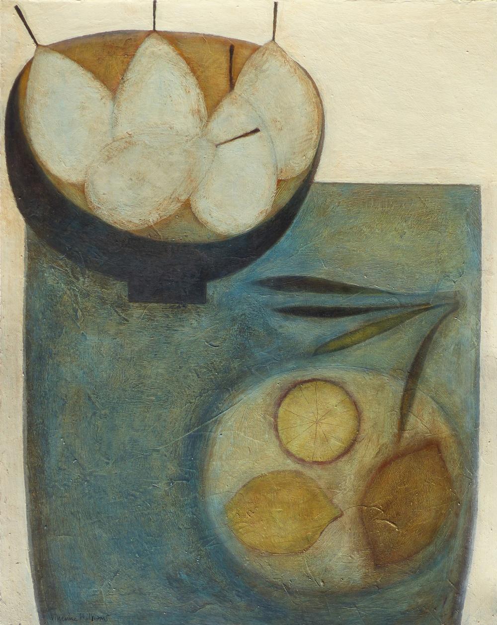 Five Pale Pears, Lemons and Beans, 51cm x 41cm, 2014