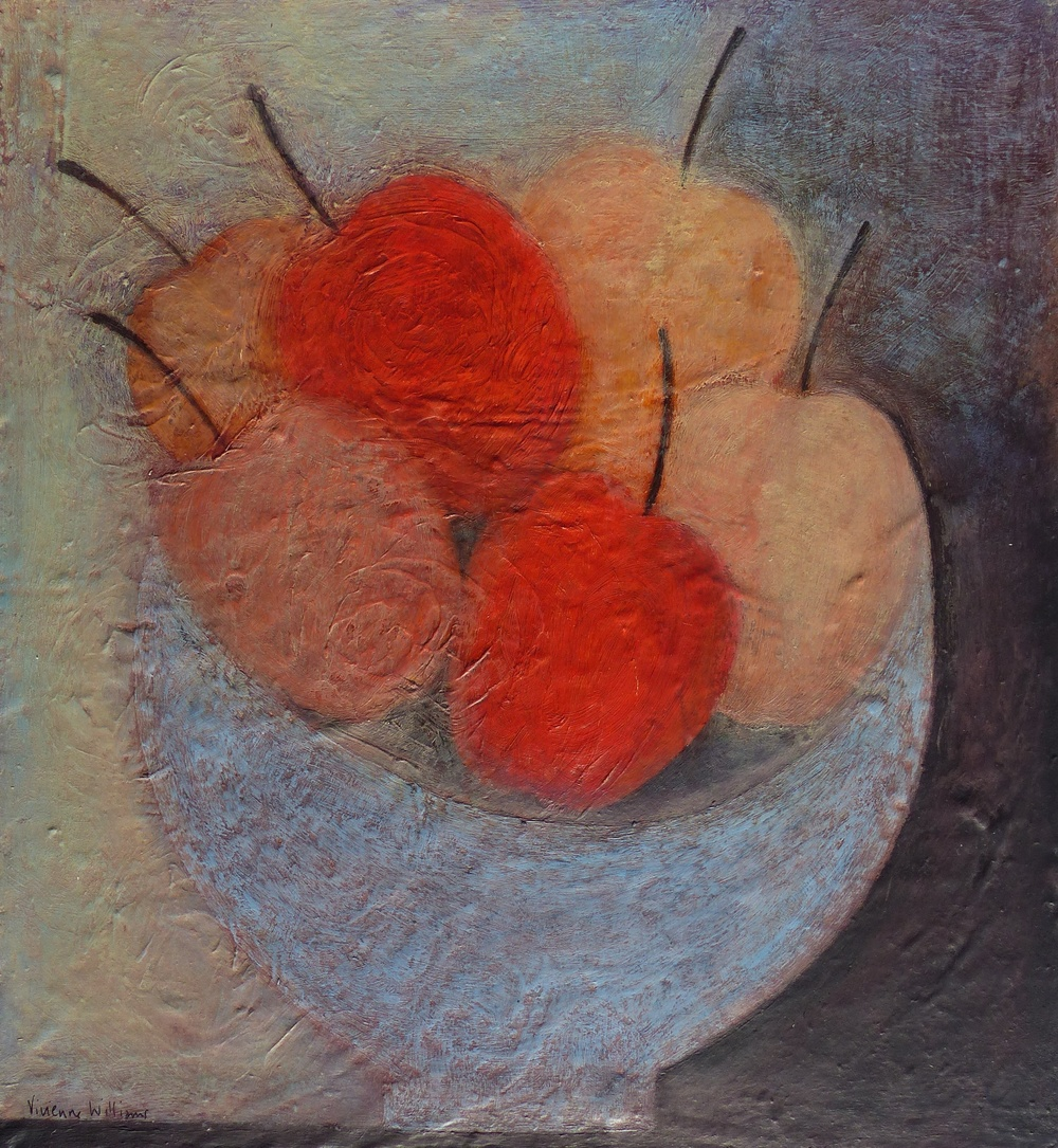 Six Apples in Blue Bowl, 33.5cm x 30.5cm, 2015
