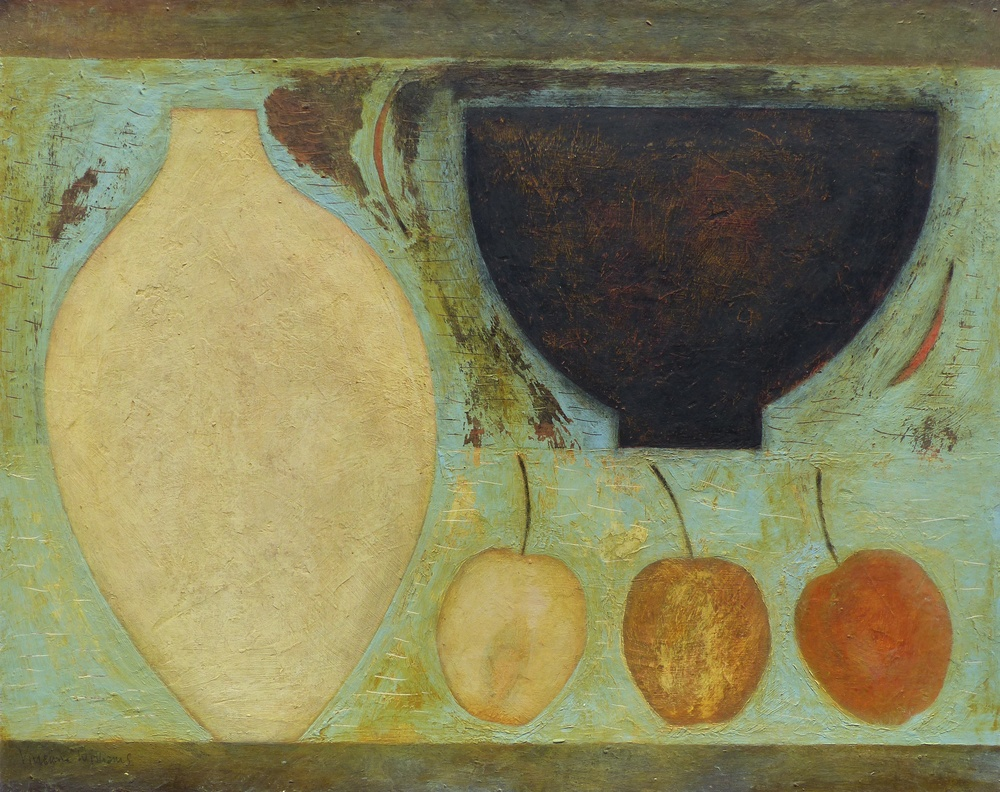 Pale Flask, Dark Bowl with Apples and Chillies, 41cm x 51cm, 2015
