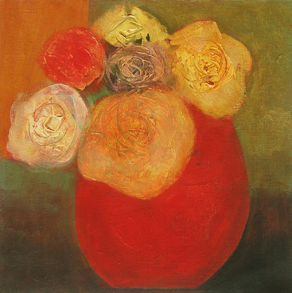 Roses in Red Pot, 25cm x 25cm, 201