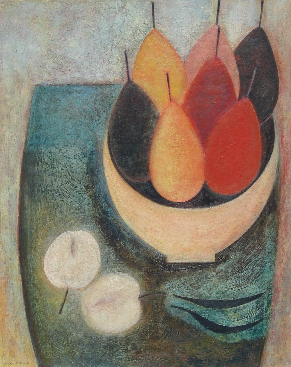 Seven Pears, Apple and Beans, 51cm x 41cm, 2014