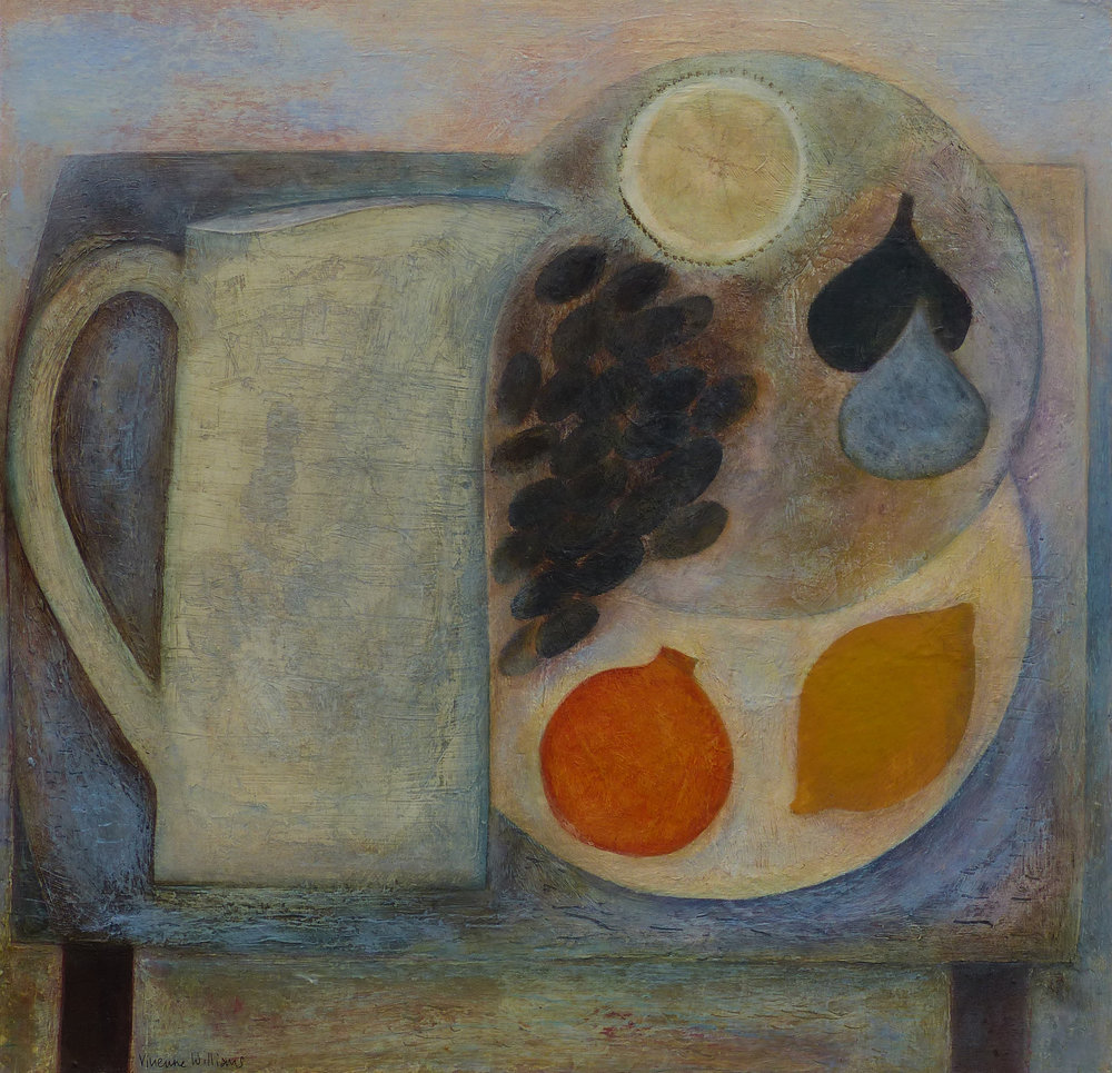 Blue Table with Jug and Fruit, 40cm x 42cm, 2017