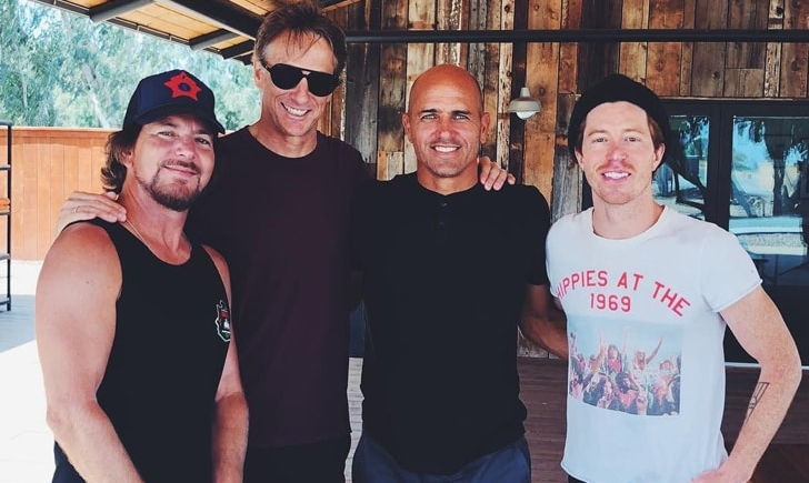 Eddie Vedder, Tony Hawk, Kelly Slater and Shaun White