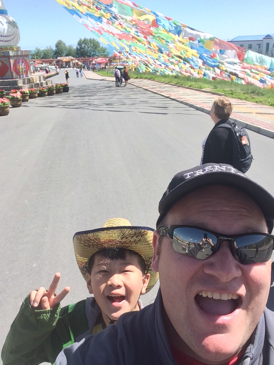 Visiting Qinghai Lake in China, summer 2016 - and being photobombed by Jack.