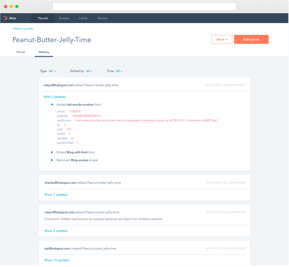 For auditing purposes and general tool cleanliness, a History tab was added to each parcel. Similar to GitHub, commit or edit comments are added to each card. A user can dive deeper into each edit for troubleshooting purposes.