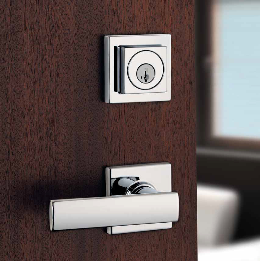Verdani lever in polished chrome by Weiser