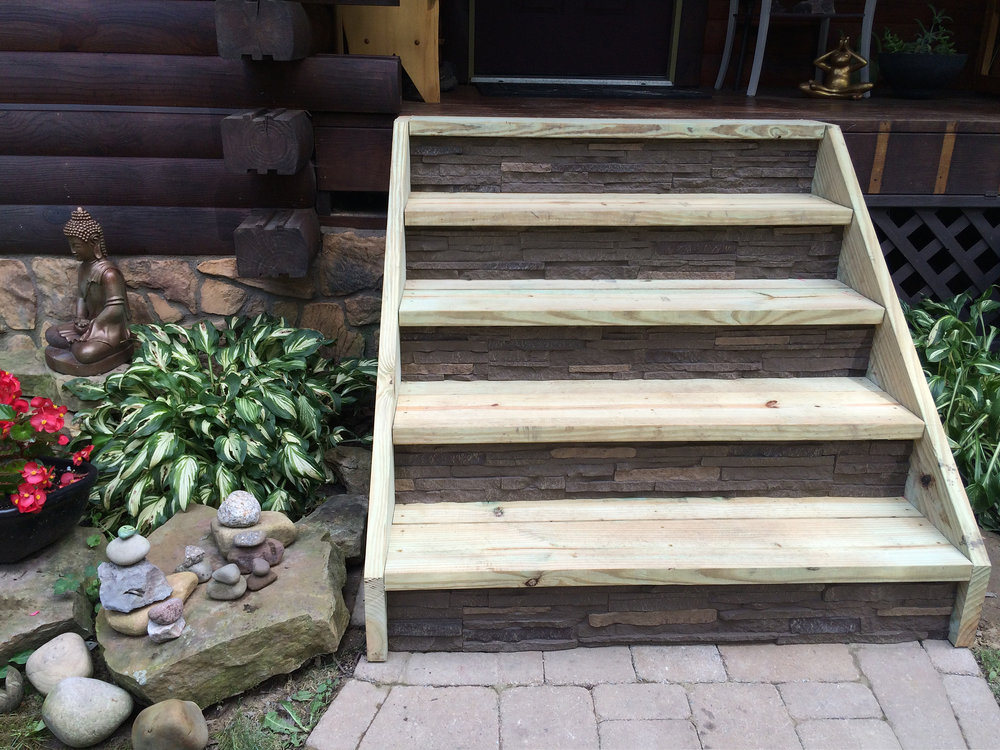 Faux stone steps by NextStone in Slatestone Pewter