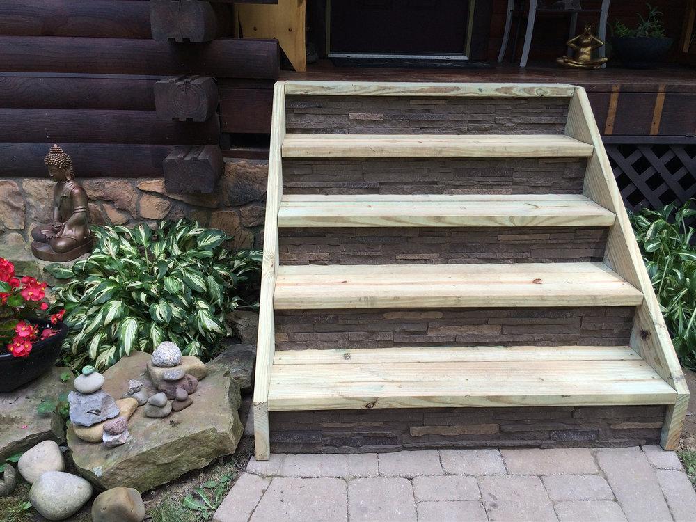 Faux stone steps by NextStone in Slatestone Pewter