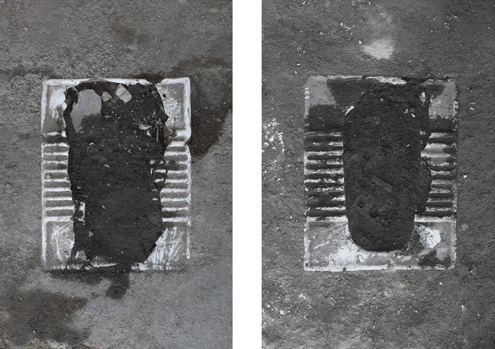 Erasure Phase I: Paved Over, Toilets in Abdol Abaad  (Documents of eastern toilets in a shanty town outside of Tehran paved over by the municipality as a first attempt to erase the settlement.), 2014 Digital C-prints, 28 x 16 inches each