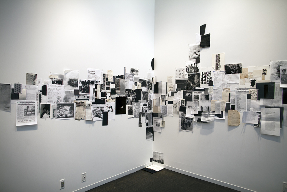 Indices & Marginalia , 2015 Installation of found materials, xeroxed archival matter, fabric, wooden frames, self-authored texts, prints, newspaper clippings, magazines, books, etc., dimensions variable. Presented at Weeksville Heritage Center
