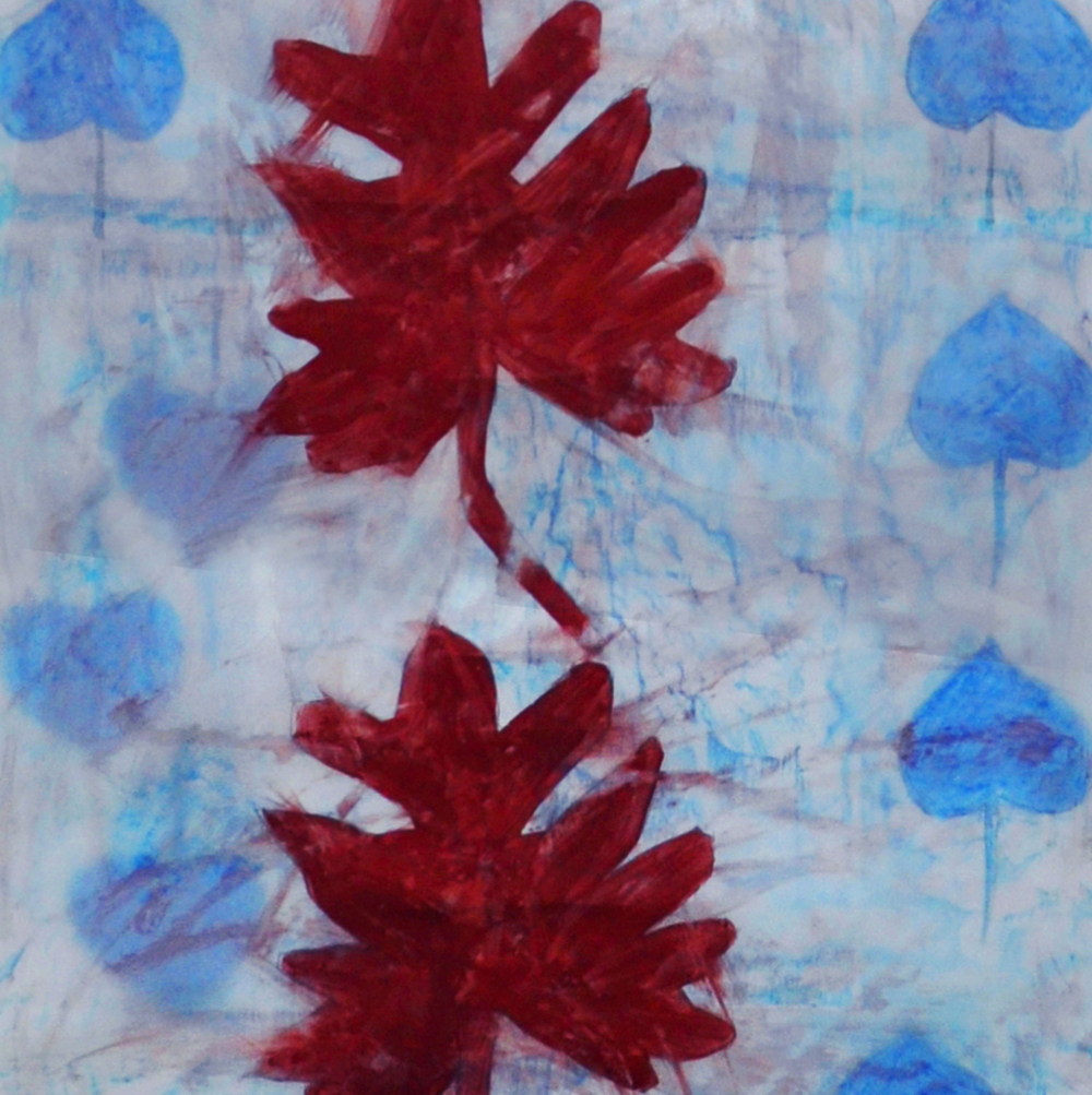 Seven Central Leaves , 2013, rubbing, collage, oil pastel, paint, pencil on mylar, 91 x 24 inches