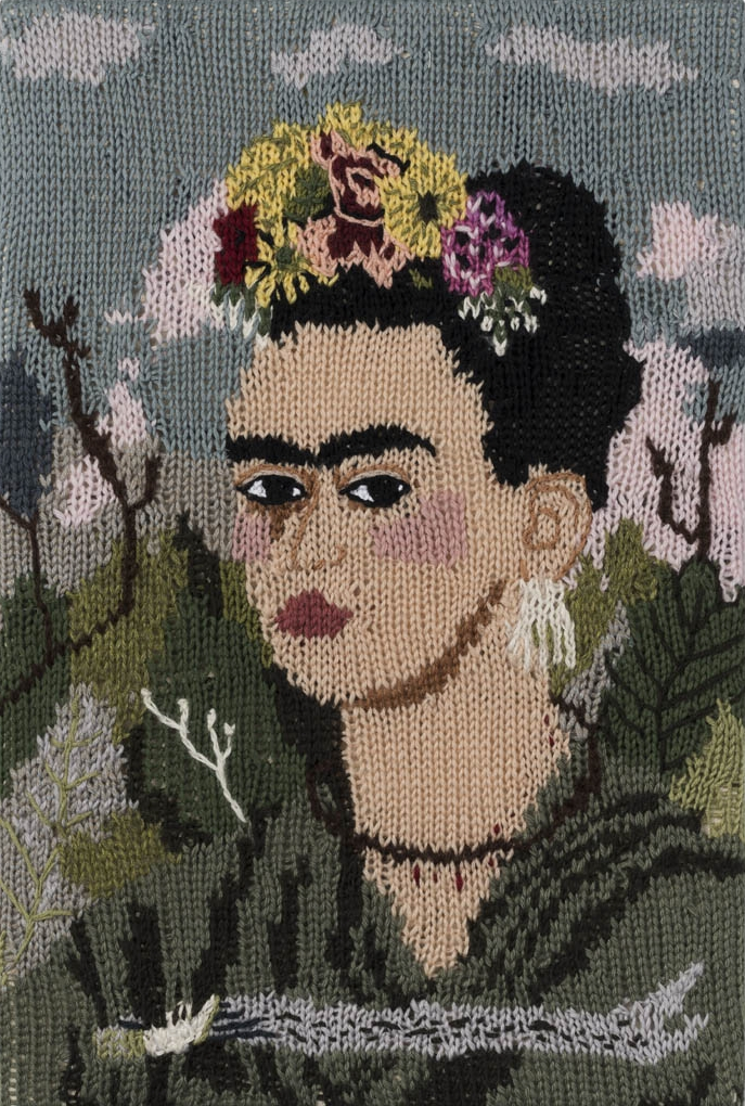 Feminist Fan #14 (Frida Kahlo Self Portrait: 1940) , 2015. Hand knitted wool and acrylic yarns, canvas and timber, 18 x 12 inches