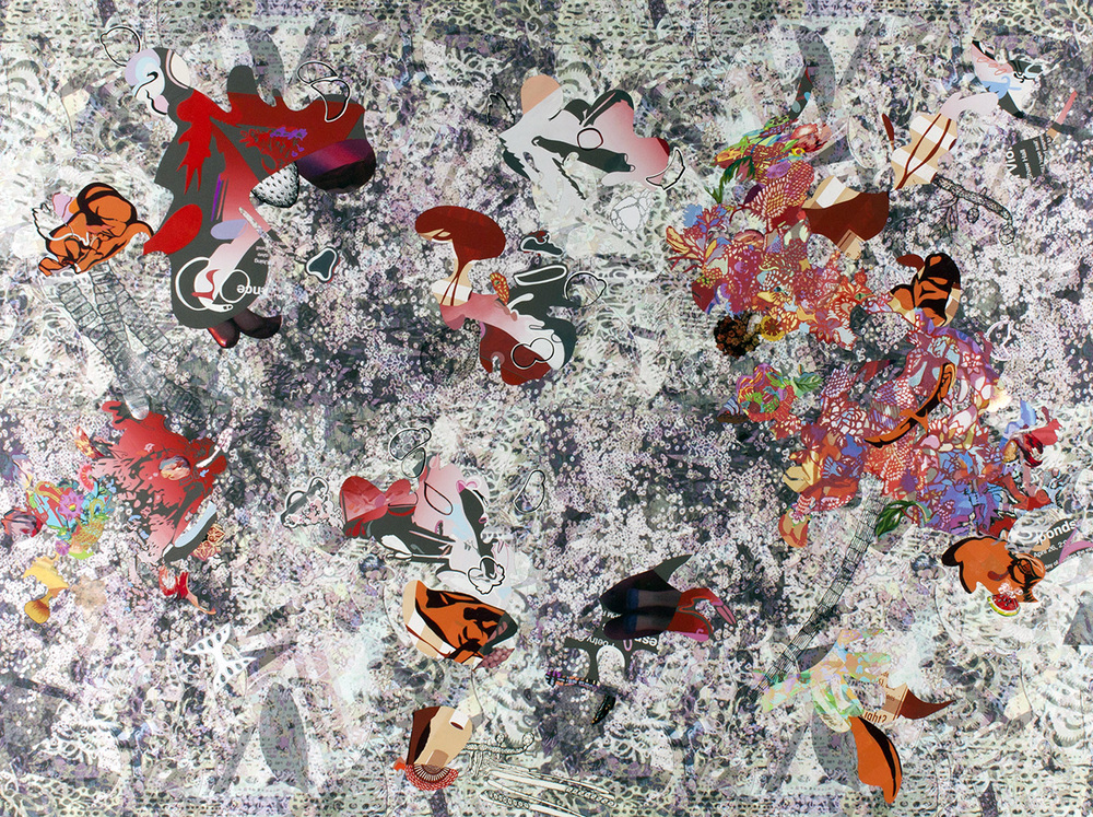 deluge , 2014 Digital archival print, silkscreen, photographs, acrylic, gouache, ink, 40 x 60 inches
