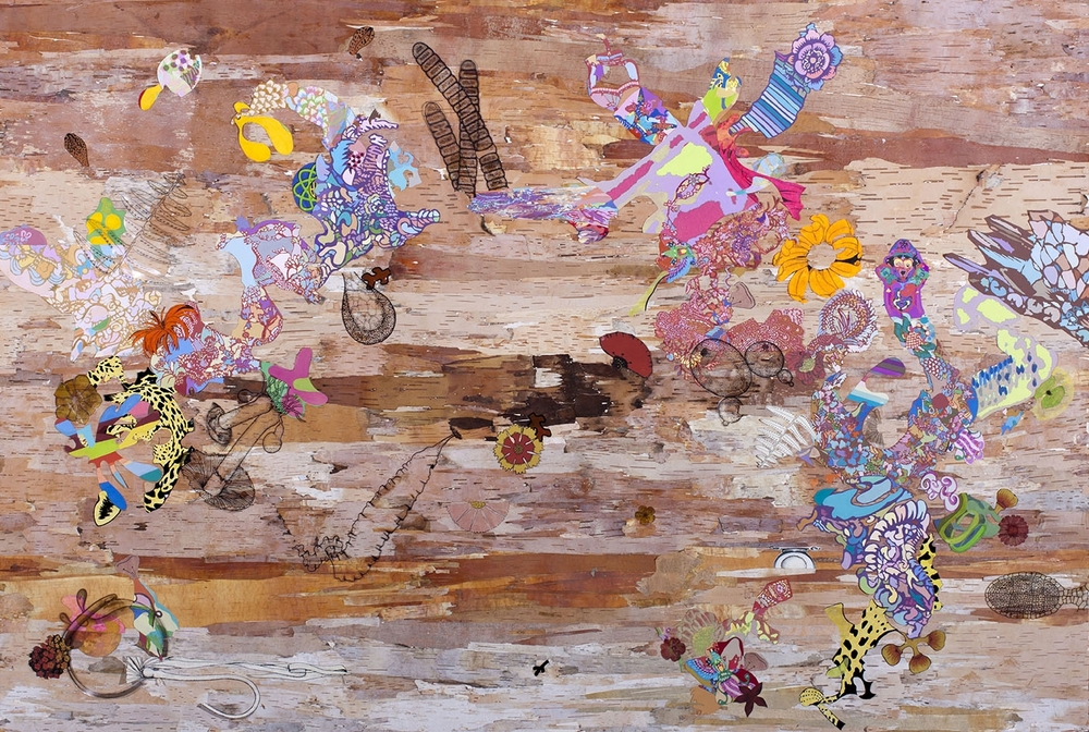 papavera somniferous , 2014 Birch bark from Vermont, archival inkjet prints, ink, gouache, acrylic, pencil, 40 x 60 inches