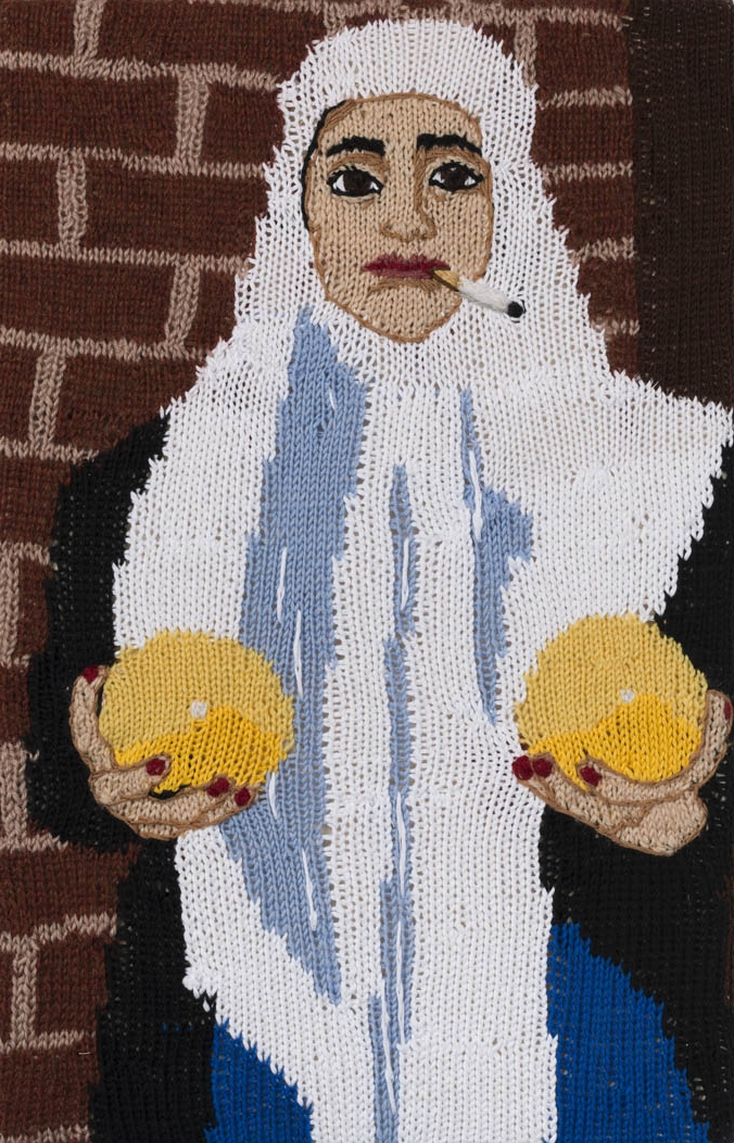 Feminist Fan #22 (Sarah Maple, Self Portrait with Melons, 2012) , 2016. Hand knitted wool and acrylic yarns, canvas and timber, 22 x 14 inches