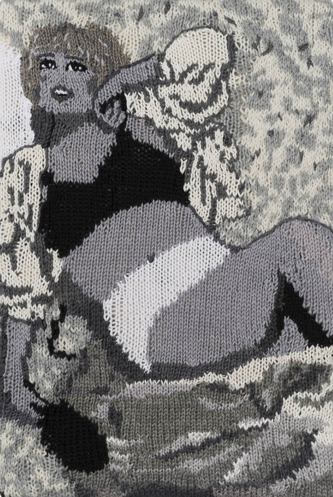 Feminist Fan #10 (Cindy Sherman, Untitled Film Still #6, 1977) , 2015. Hand knitted wool and acrylic yarns, canvas, timber, 18 x 12 inches