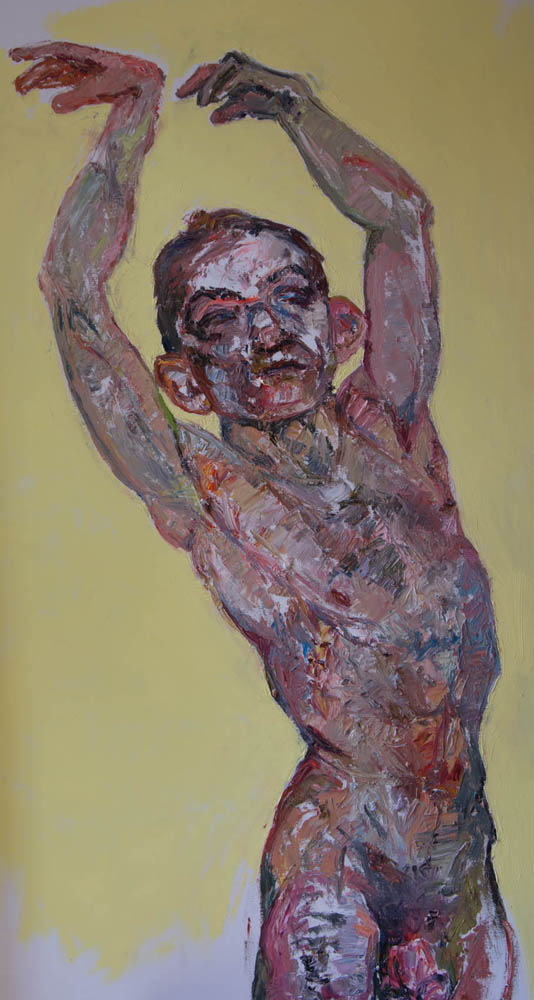 Dancer with face of fighter , 2015, Oil on canvas, 52 x 38 x 2.5 inches