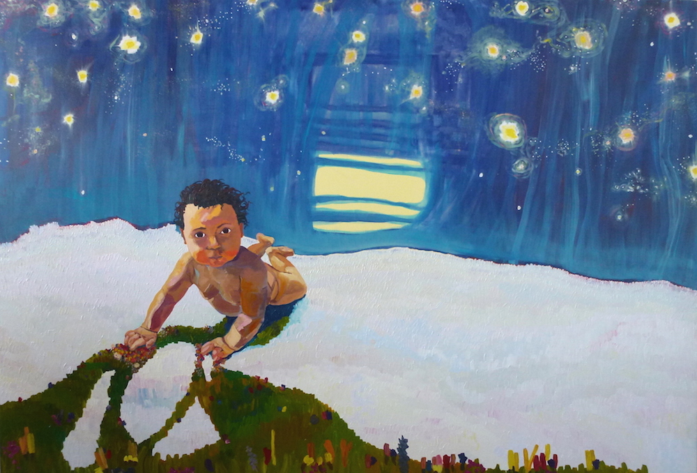 Lifeline VII: Baby , 2015, Oil on canvas, 5 x 7.5 feet