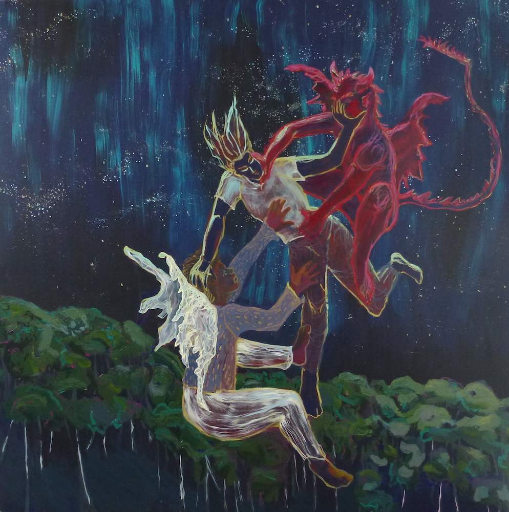 Battle With Good and Evil , 2014, Oil on canvas, 6 x 6 feet