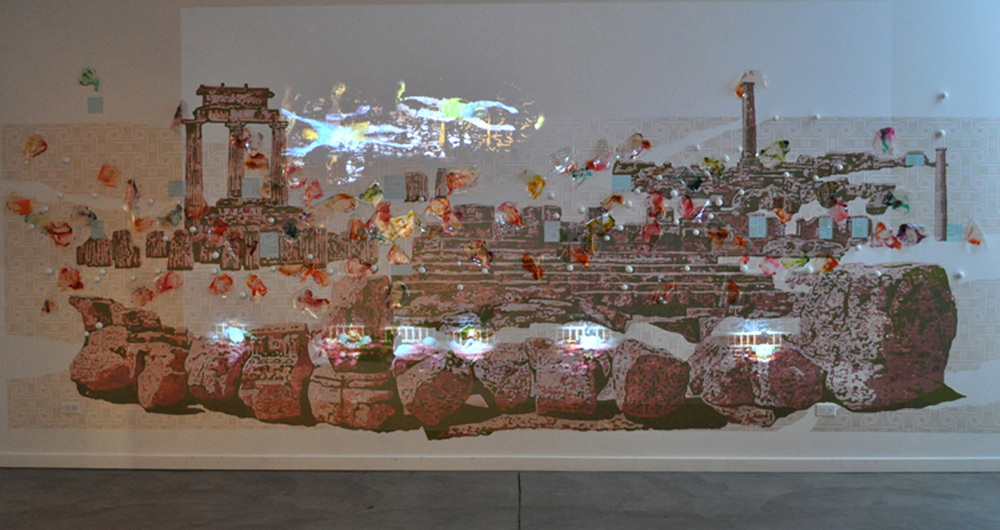 crossing-over , 2011, Installation with laytex paint, printed vinyl, polycrylic, ink, nails, polymer clay balls, and digital video projection, 9 x 20 x 4 feet