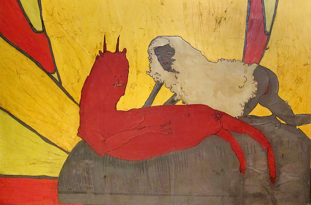 Lion and the Lamb , 2010, Acrylic, paper on wood, 24 x 36 inches