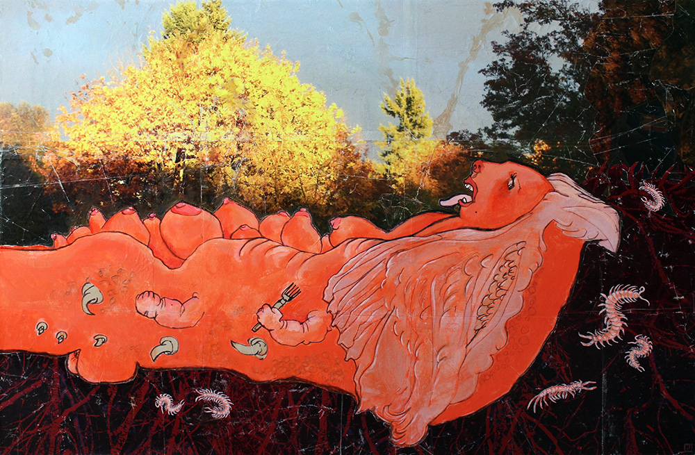 THE OTHER  , Pink Meat , 2013, Acrylic, paper, photo on wood, 24 x 36 inches