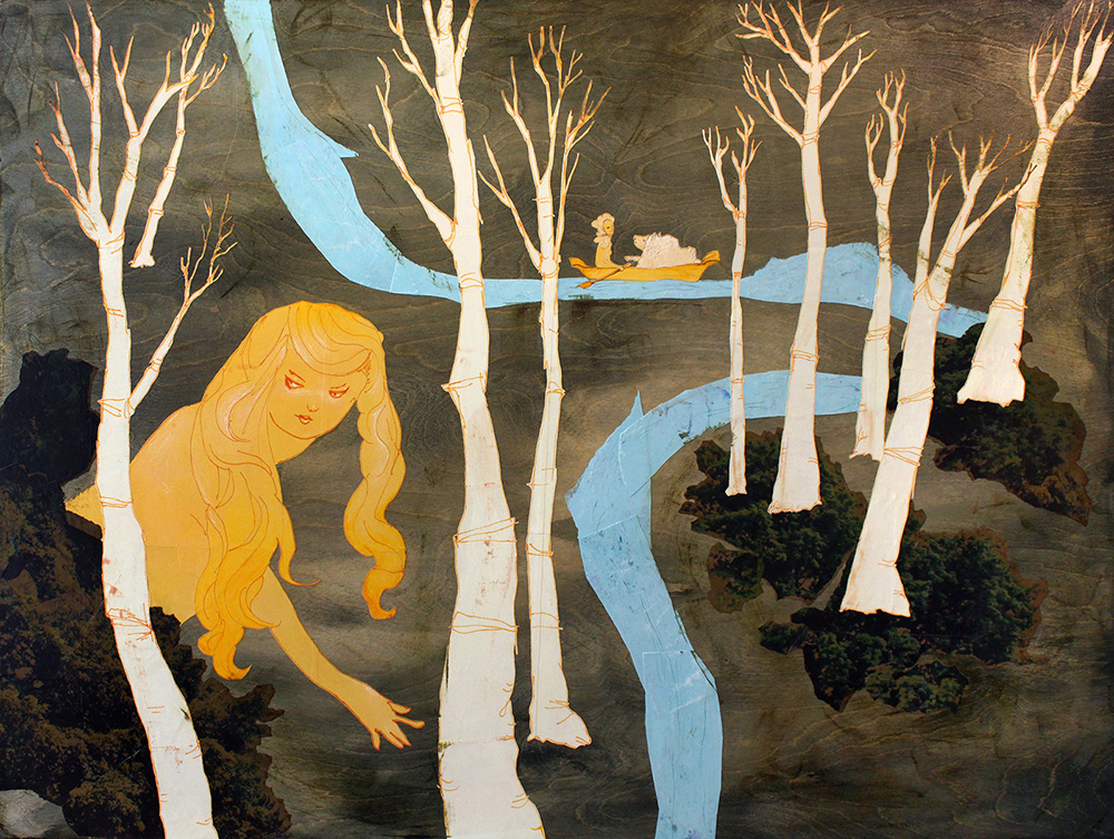 Time For Rest (Forest) , 2014, Acrylic, paper, photograph, pastel on wood, 36 x 48 inches
