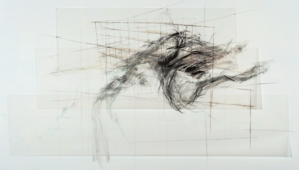 A Wave for Hokusai , 2010, Graphite, pastel, oil bar on paper and mylar, 118 x 230 inches