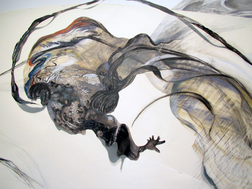 Catclysm  (detail), 2012, Graphite, pastel, oil bar on paper and mylar, 80 x 150 inches