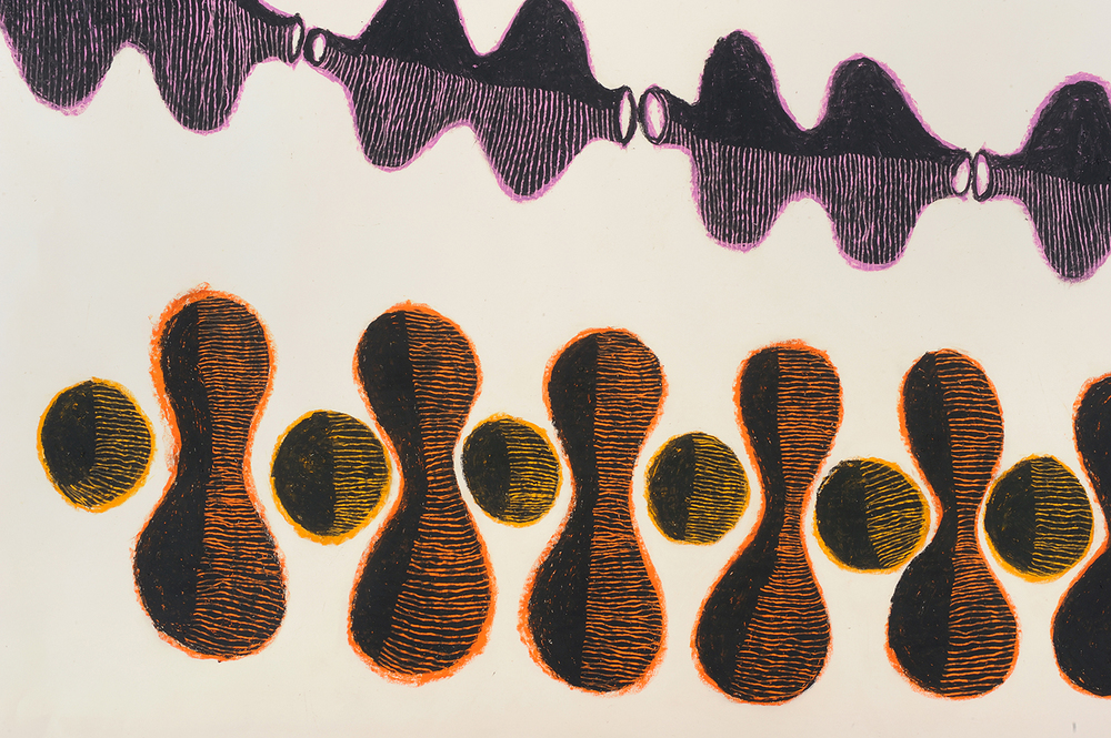 Drawing #10  (detail), 2013, Crayons and sgrafitto on 100% cotton rag paper, 70.75 × 36 inches