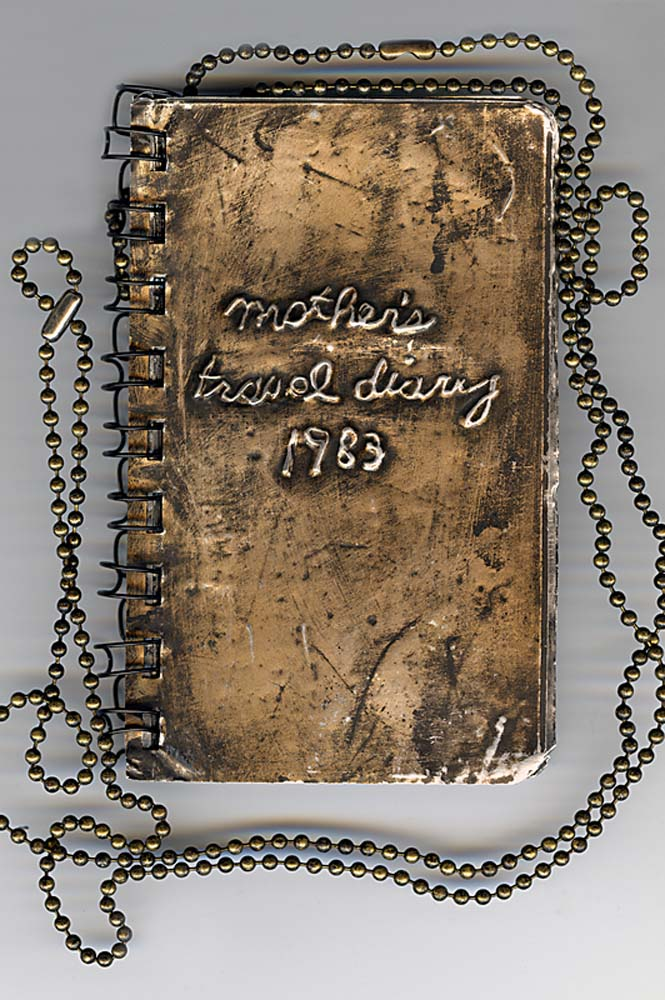 Mom's Travel Diary,  Text embossed on metal, artist's book, 1989 - 98, 5 x 7 inches