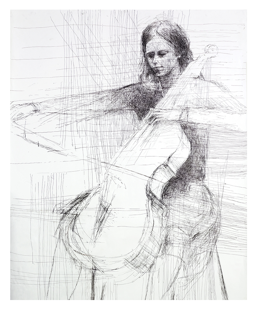 Cellist , 2000, Pen and ink on paper, 74 x 44 inches