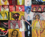 Little Girls Together 3 , 2011, Mixed media and collage on wood, 30 x 40 inches